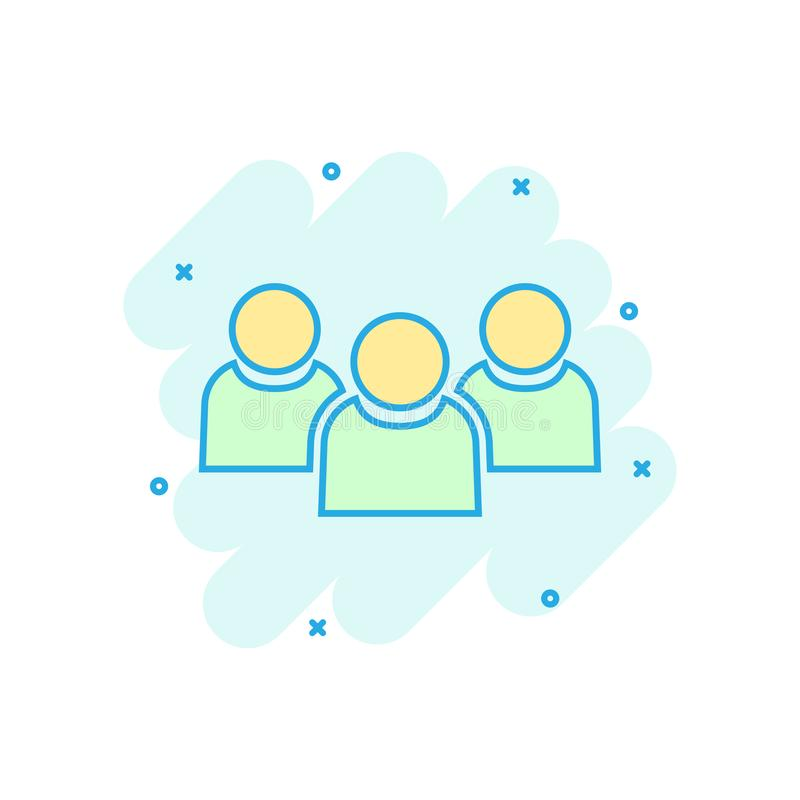 People communication icon in comic style. People vector cartoon illustration pictogram. Partnership business concept splash effect royalty free illustration