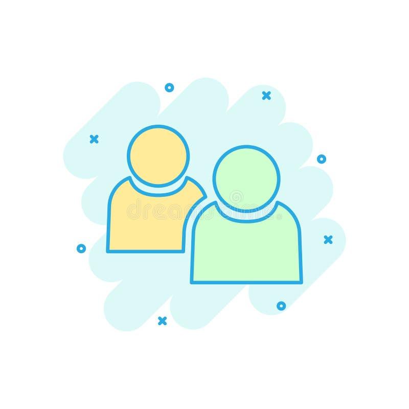 People communication icon in comic style. People vector cartoon illustration pictogram. Partnership business concept splash effect stock illustration
