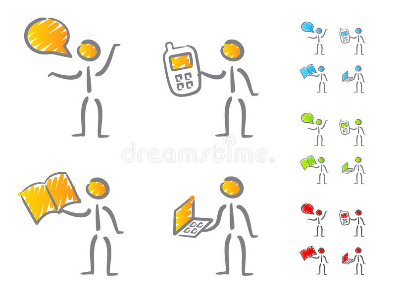 People Communication Icons Scribble Royalty Free Stock Photos