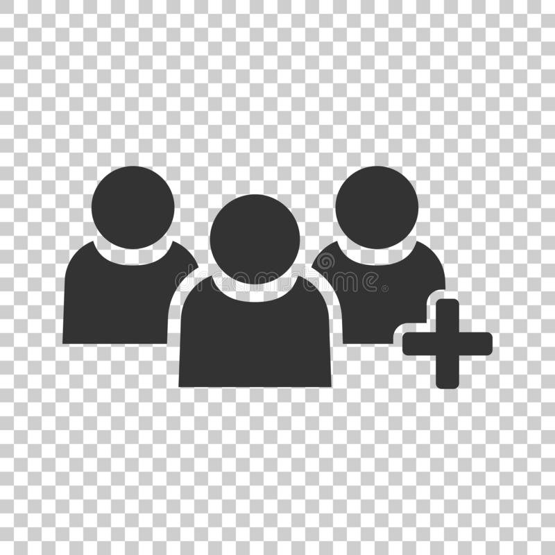 People communication user profile icon in flat style. People wit. H plus vector illustration on isolated background. Partnership business concept royalty free illustration