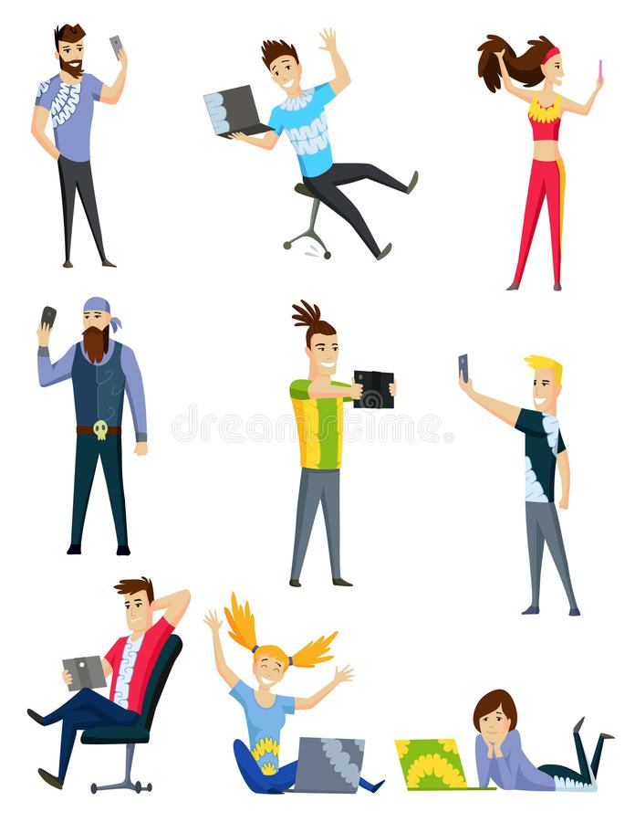 People communication via the Internet, social networking, chat, video, news, messages, web site, search friends, mobile. Web graphics. Vector colorful vector illustration