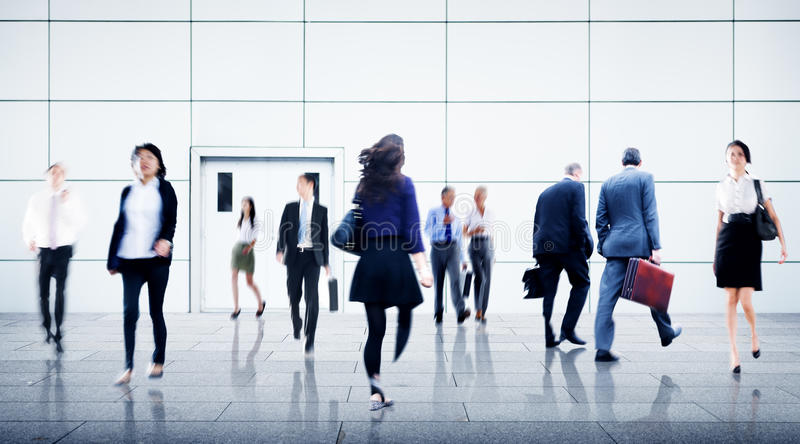 People Commuter Walking Rush Hour Cityscape Concept.  stock photography