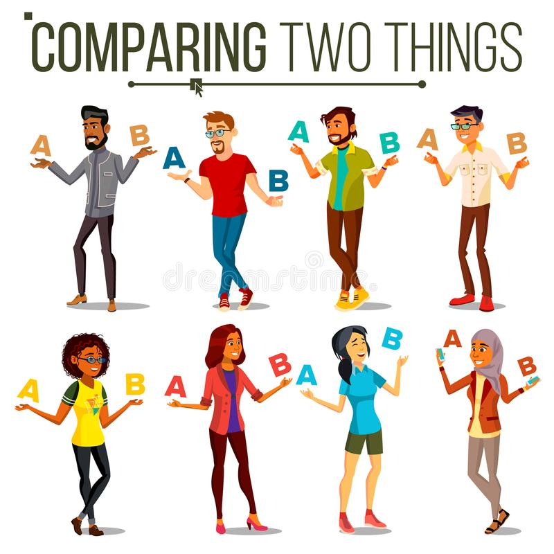People Comparing A With B Vector. Balance Of Mind And Emotions. Mix Race. Client Choice. Compare Objects, Ways, Ideas royalty free illustration