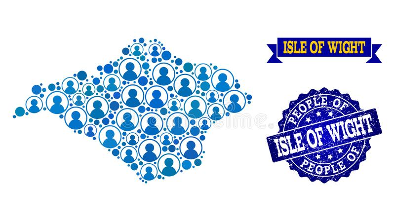 People Composition of Mosaic Map of Isle of Wight and Scratched Stamp. People collage of blue population map of Isle of Wight and scratched seal. Vector stock illustration
