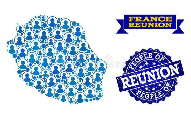 People Composition of Mosaic Map of Reunion Island and Distress Stamp. People collage of blue population map of Reunion Island and rubber seal. Vector seal with stock illustration