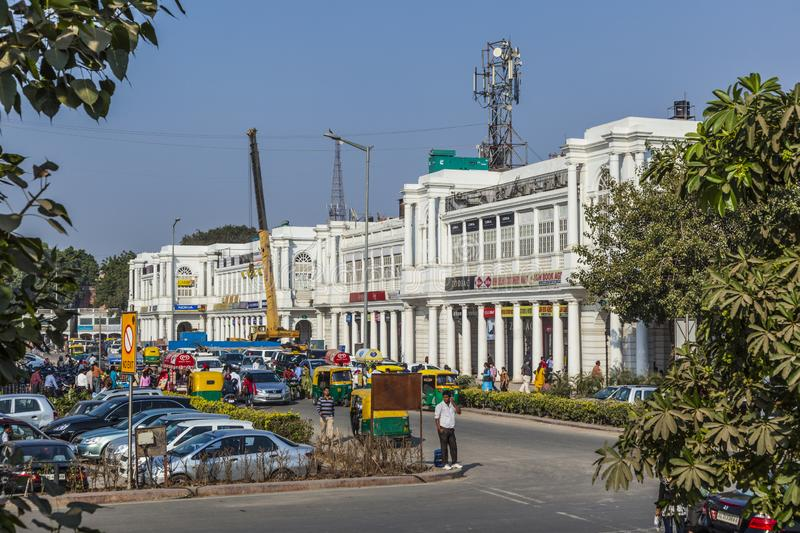people at Connaught Place. It is one of the largest financial, commercial and business centers  in Delhi, India royalty free stock photo