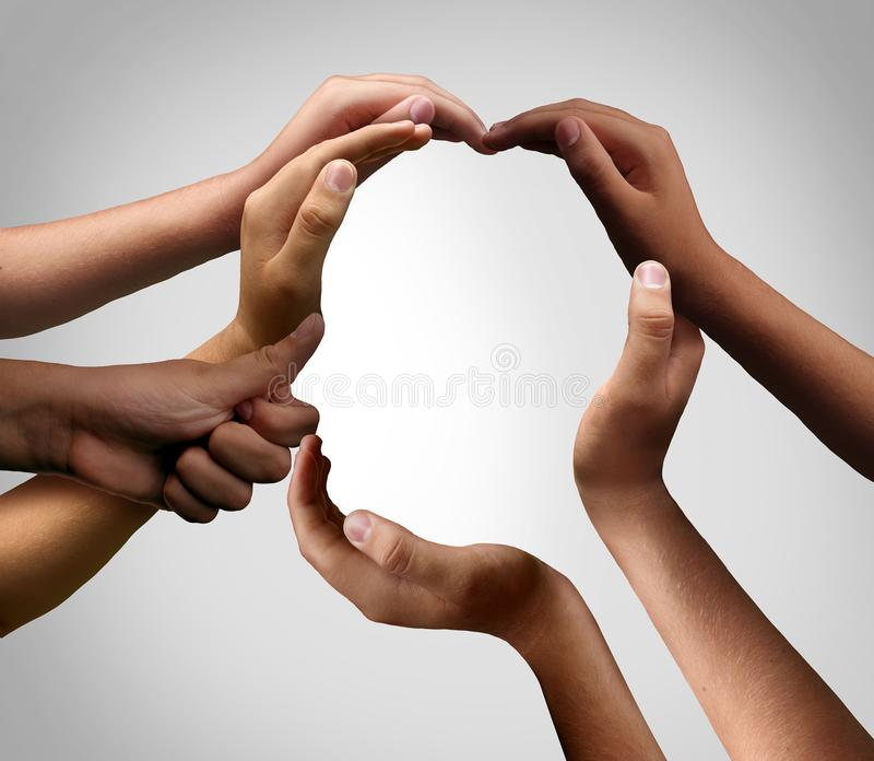 People Connect As One. As a business creative team made of diverse hands joining together to form one head as a group connected with hands stock photo