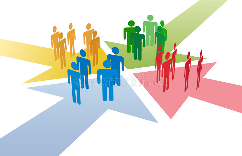 Download People Connect Meet At Arrows Meeting Point Stock Vector - Image: 21528640