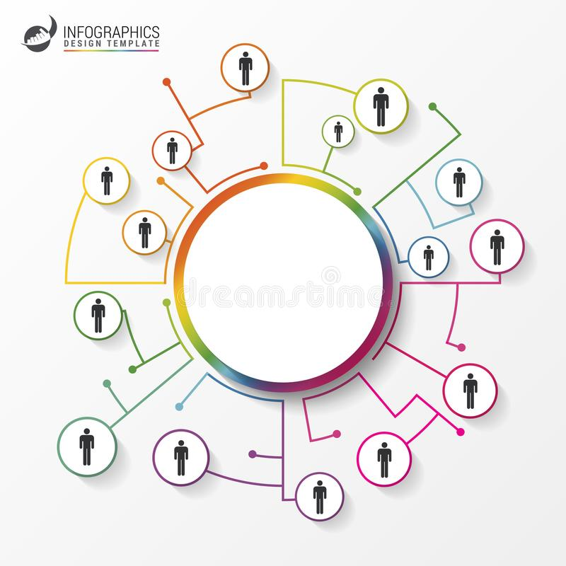 People connected as network in circles. Infographics royalty free illustration
