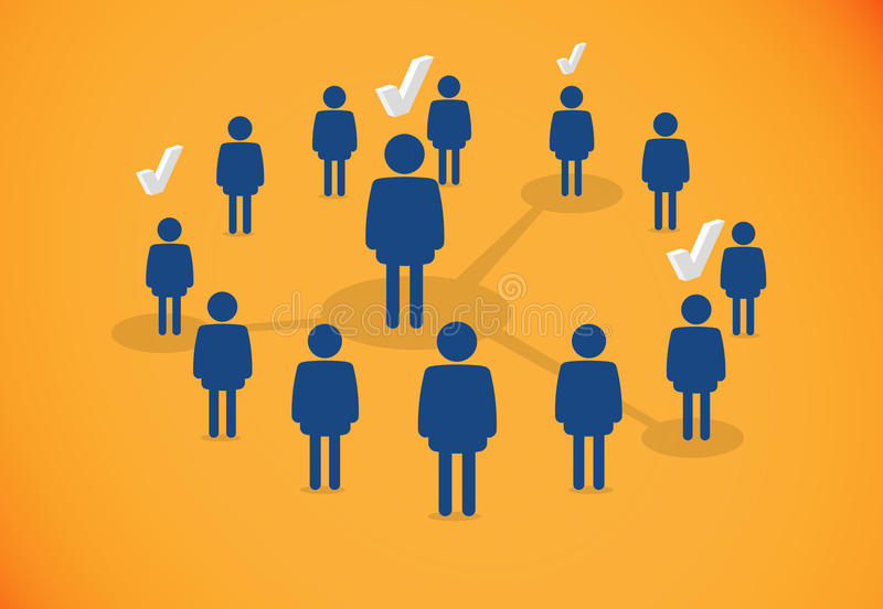 People connected. In a circle. Social network validation system royalty free illustration