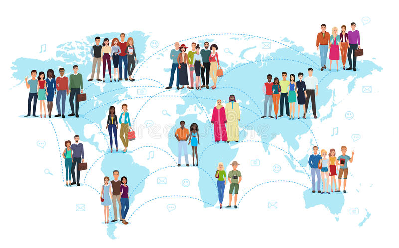 The people connected with lines standing on a world map vector illustration. Social media and social network concept. royalty free illustration