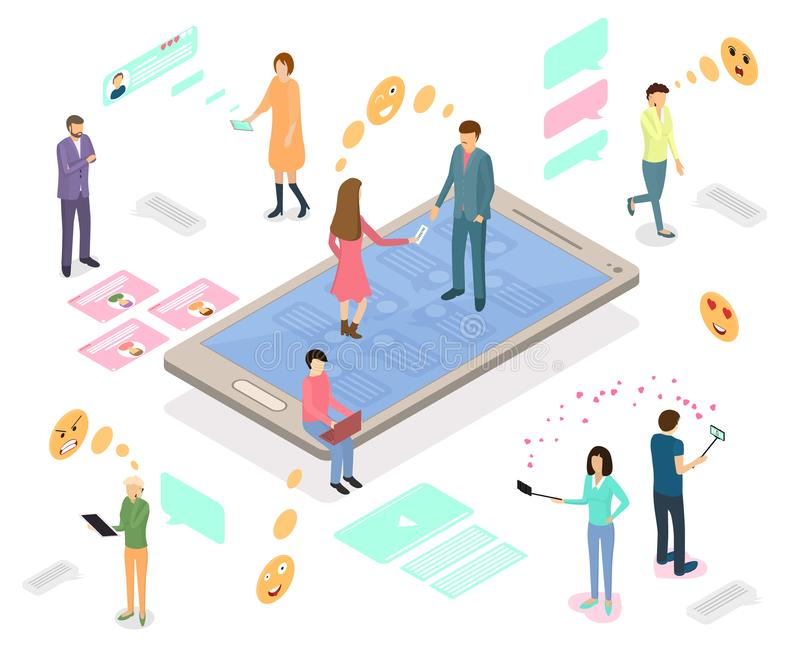 People Connecting Devices Infographics Concept 3d Isometric View. Vector royalty free illustration