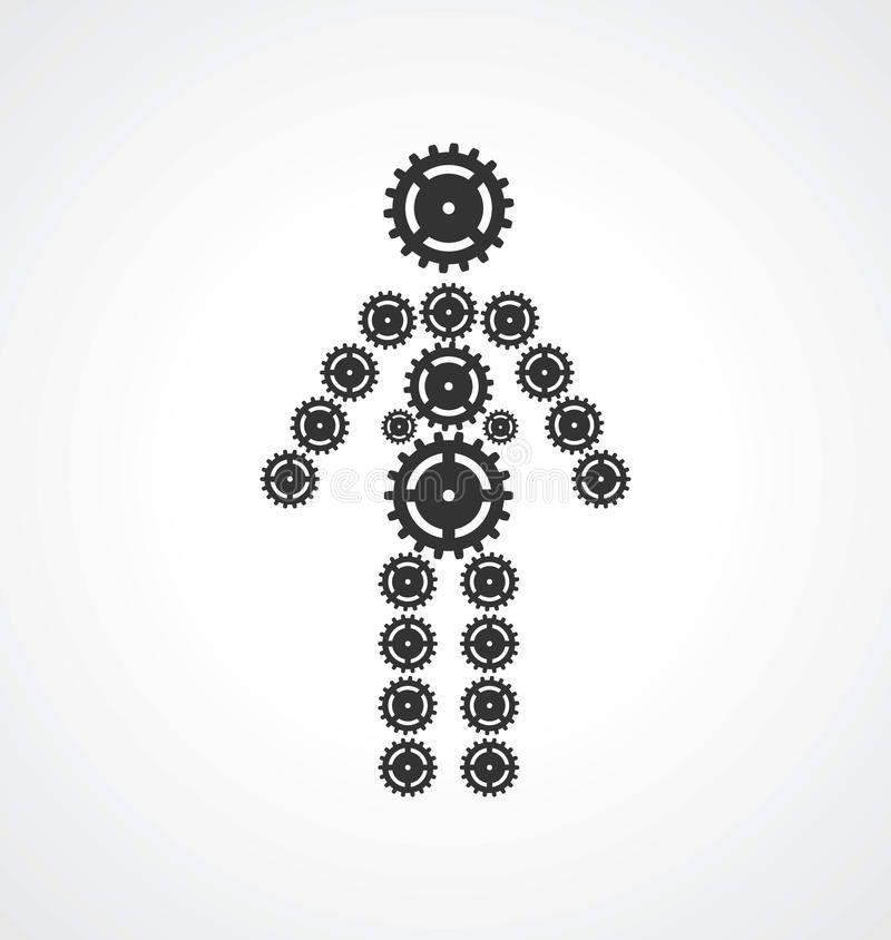 People consisting of gears monochrome.  vector illustration