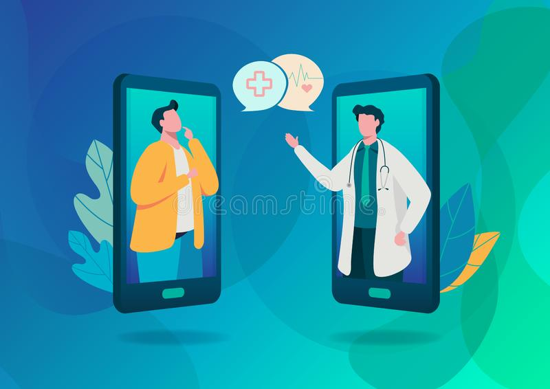 People consultation to the doctor. Online diagnosis. Online hospital health care concept, Medical team. Healthy Application. Flat cartoon character graphic stock illustration