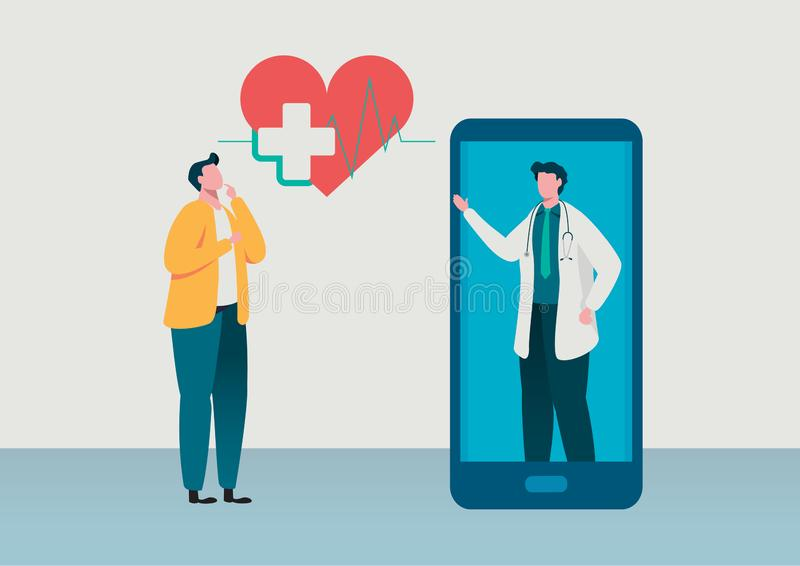 People consultation to the doctor. Online diagnosis. Online hospital health care concept, Medical team. Healthy Application. Flat vector illustration modern royalty free illustration