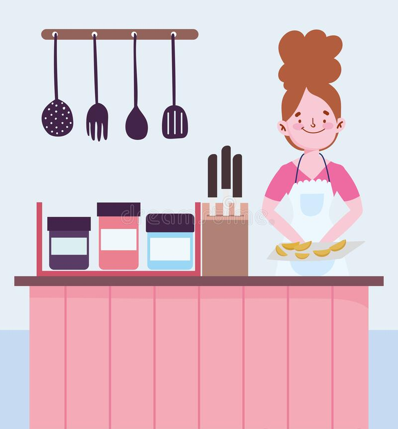 Free People Cooking, Woman With Baked Food Counter Cutlery Knives In Kitchen Royalty Free Stock Image - 182905186
