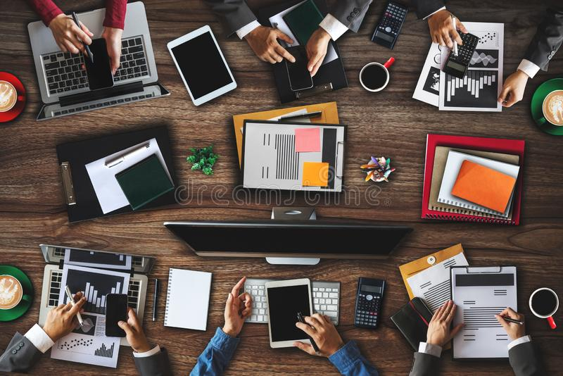 People corporate business team concepts Top view Digital marketing media smartphone software. Top view of businessman Group of Multiethnic Busy People meeting stock photography
