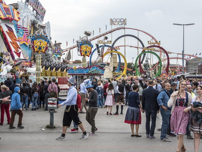 People in costume at the Oktoberfest royalty free stock image