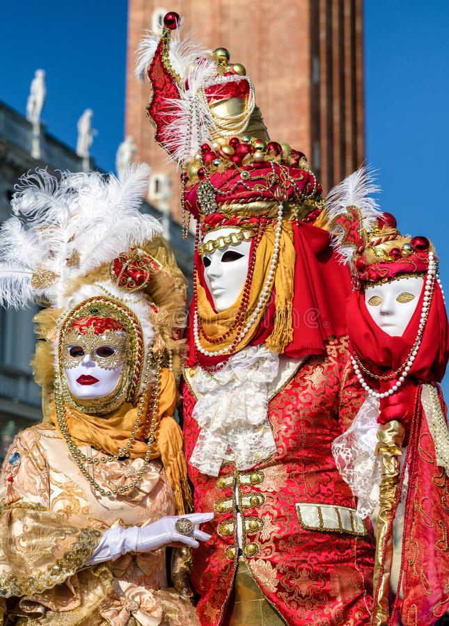 People in costumes at Venice carnival 2018, Italy royalty free stock images