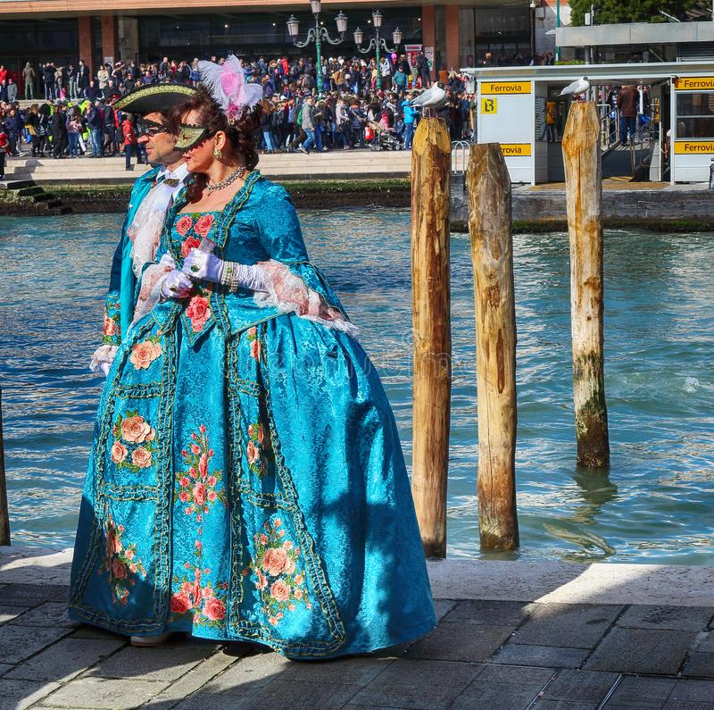 People In Costumes At Venice Carnival. Venice, Italy royalty free stock images