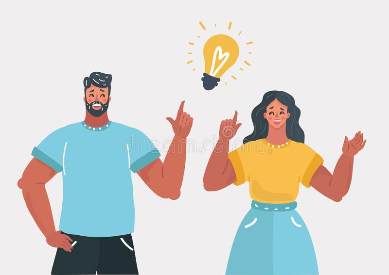 People couple have an idea. vector illustration