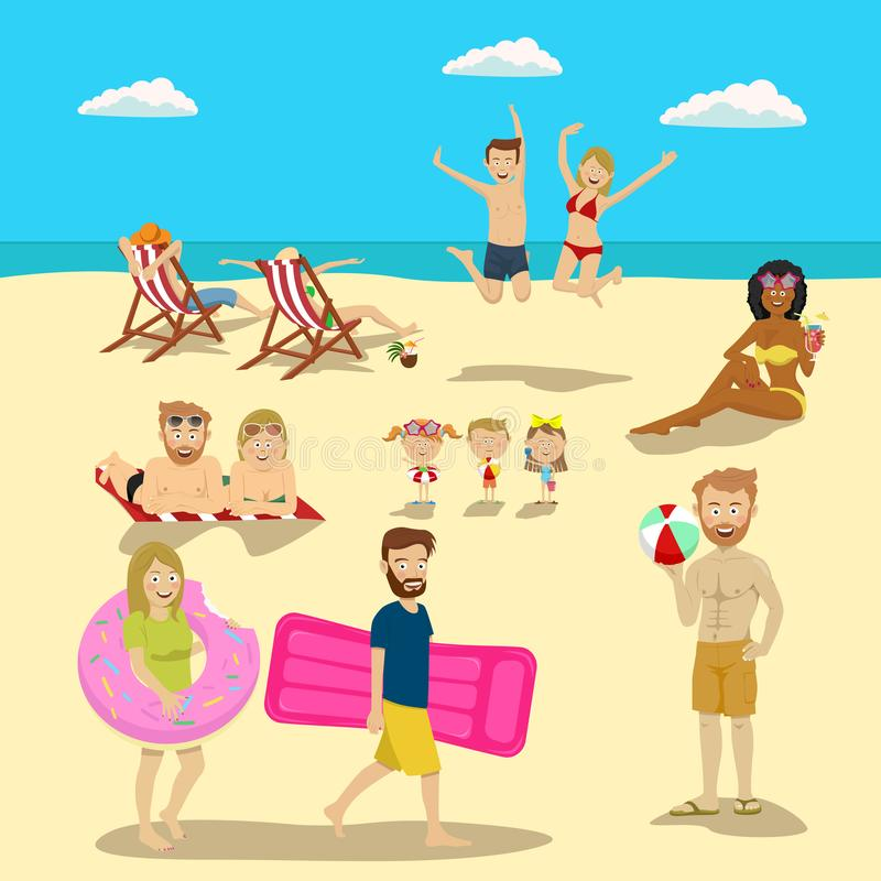 People and couples on vacation beach big set. Summer travel holidays and beach active sport activities vector illustration