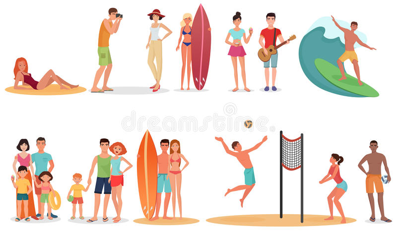 People and couples on vacation beach collection. Summer holidays set. royalty free illustration