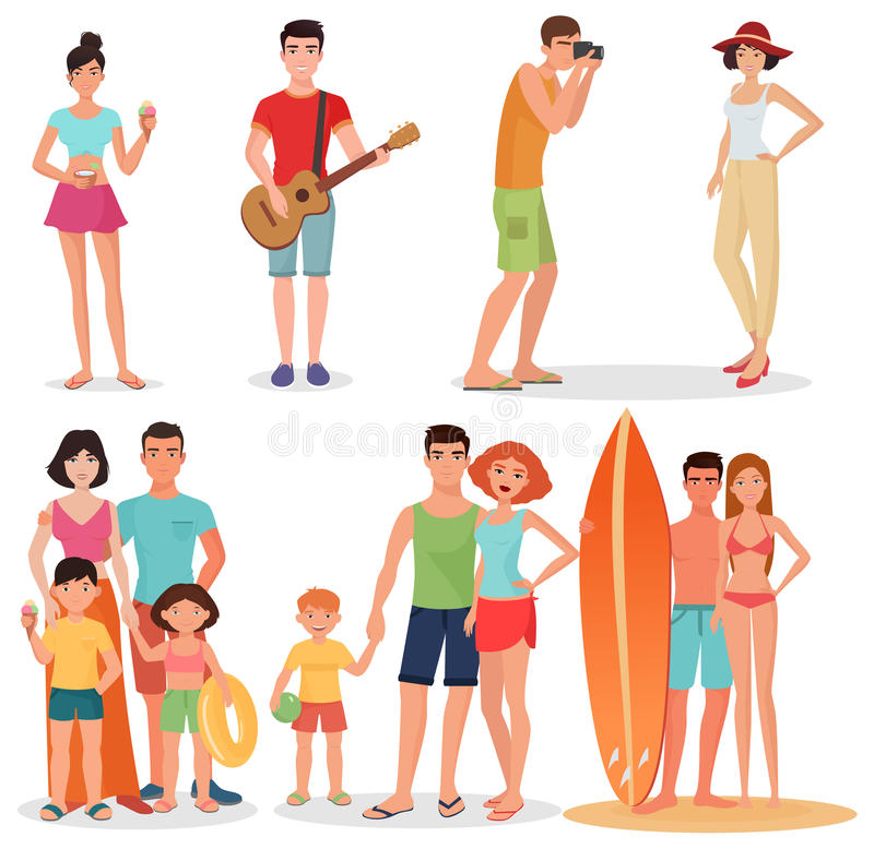 People and couples on vacation beach party collection. Summer holidays set. royalty free illustration