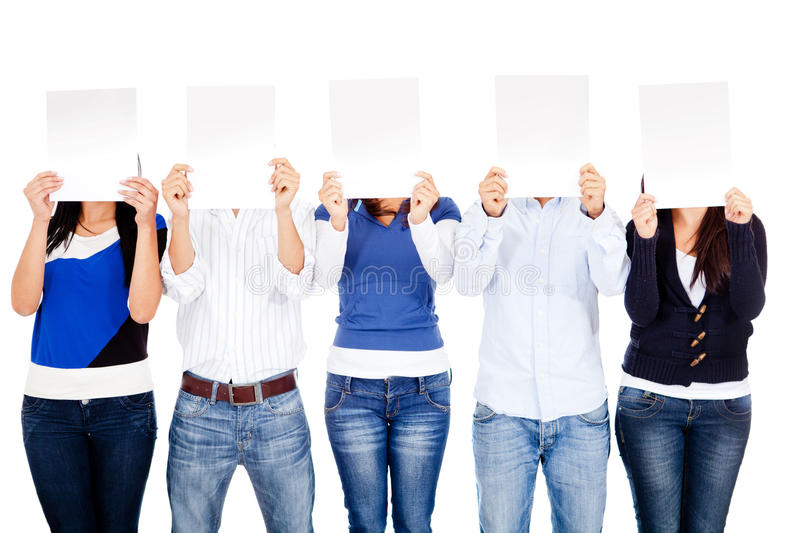 Download People Covering Face With Banners Stock Photo - Image: 24598434