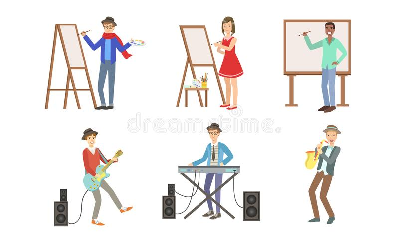 People of Creative Professions Set, Artists Painting on Canvas and Musicians with Musical Instruments Vector royalty free illustration