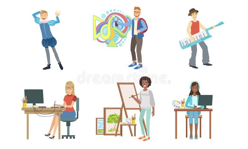 People of Creative Professions Set, Musician, Actor, Graffiti Artist, Designer Vector Illustration. On White Background vector illustration
