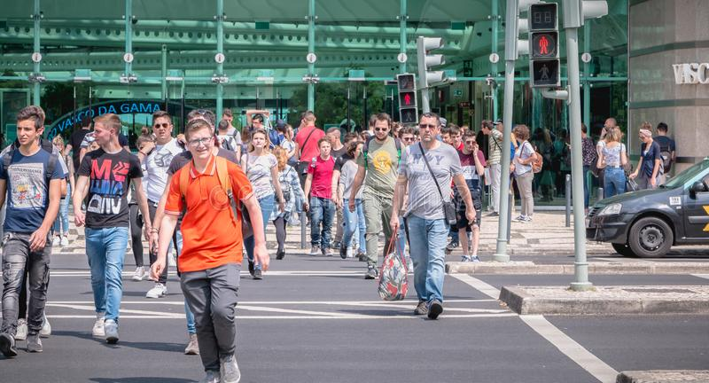 People crossing a street on a zebra crossing in front of the Vasco da Gama shopping royalty free stock images