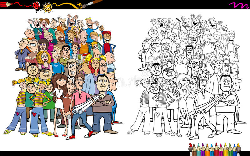 People in crowd coloring book stock illustration