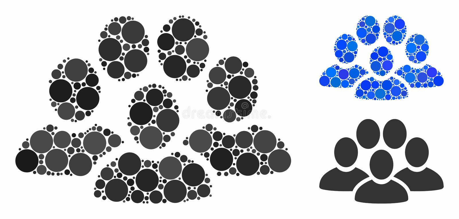 People crowd Composition Icon of Circles. People crowd composition of circle elements in variable sizes and color tinges, based on people crowd icon. Vector royalty free illustration