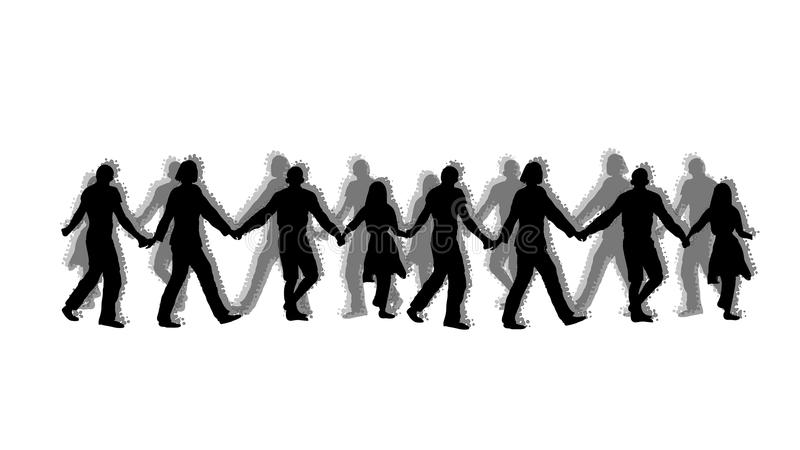 People crowd in dance stock illustration