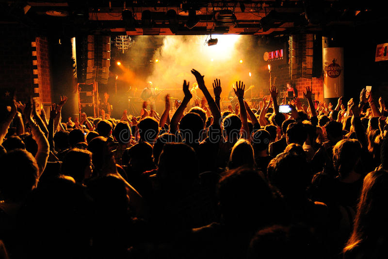 People from the crowd (fans) applauding a concert by Bombay Bicycle Club (band) at Bikini Club stock photos