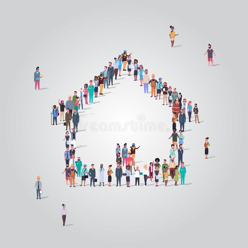 People crowd gathering in home icon shape social media community house building concept different occupation employees. Group standing together full length royalty free illustration