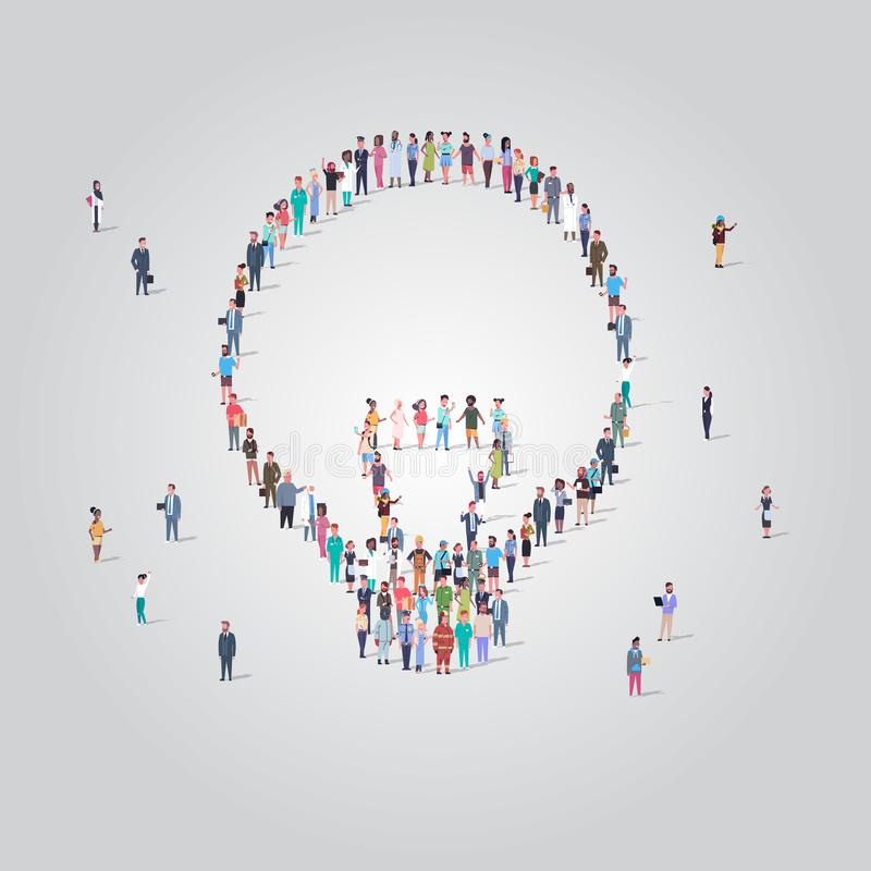 People crowd gathering in light lamp icon shape social media community creative idea concept different occupation. Employees group standing together full length vector illustration