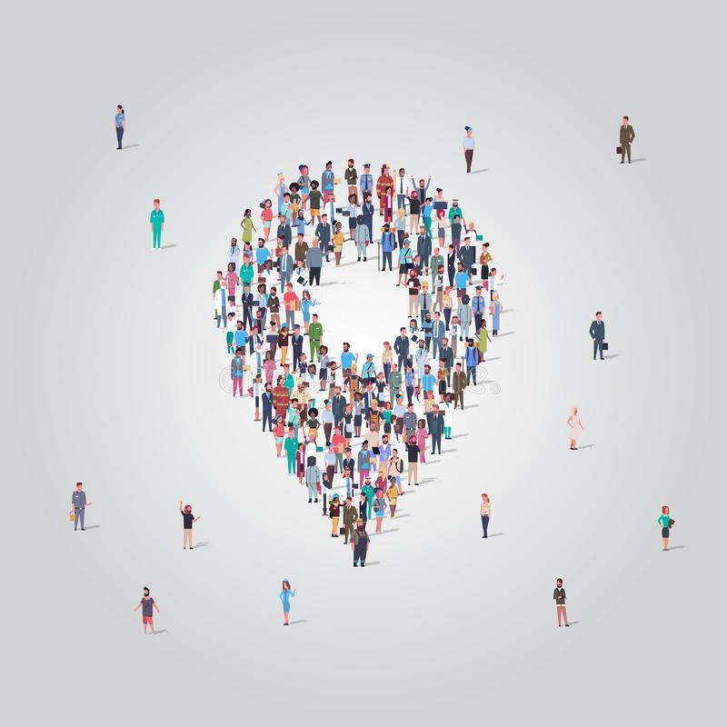 People crowd gathering in location geo tag shape social media community navigation concept different occupation. Employees group standing together full length stock illustration