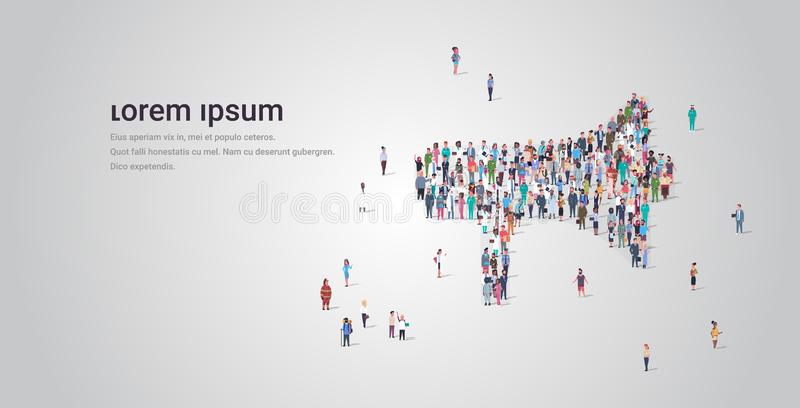 People crowd gathering in loudspeaker megaphone shape social media community announcement concept different occupation. Employees group standing together full royalty free illustration