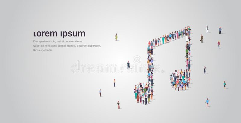 People crowd gathering in musical note shape social media community music concept different occupation employees group. Standing together full length horizontal vector illustration
