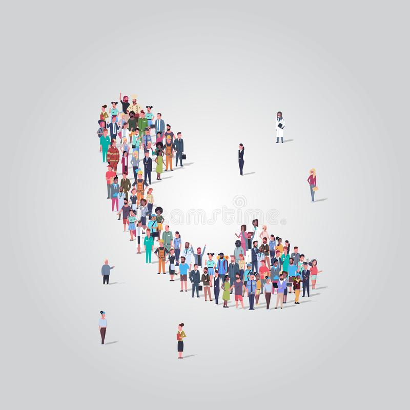 People crowd gathering in phone tube telephone receiver icon shape social media communication concept different. Occupation employees group standing together stock illustration