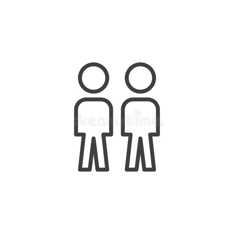 People crowd line icon. Two person, friends linear style sign for mobile concept and web design. Work Group Team outline vector icon. Symbol, logo illustration stock illustration