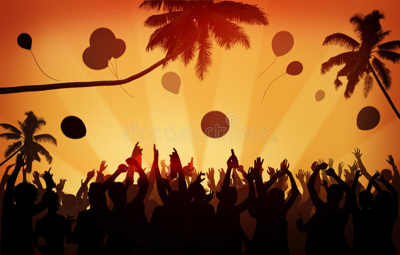 People Crowd Party Celebration Drinks Arms Raised Concept.  stock images