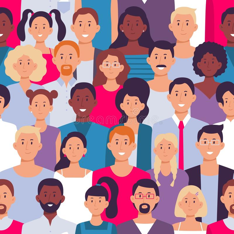 People crowd pattern. Young multiethnic men and women, people group seamless vector illustration. People crowd pattern. Young multiethnic men and women, people royalty free illustration