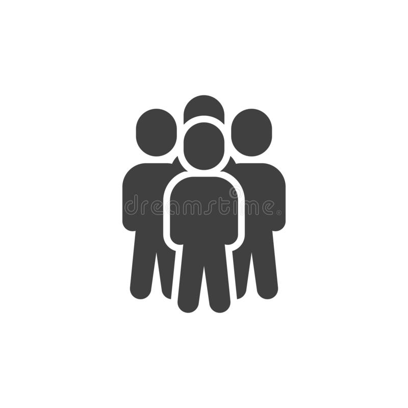 People crowd vector icon. 4 member staff filled flat sign for mobile concept and web design. Teamwork group glyph icon. Symbol, logo illustration. Vector stock illustration
