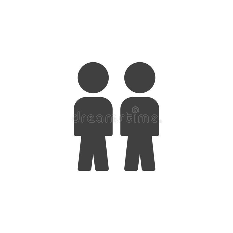 People crowd vector icon. Two person, friends filled flat sign for mobile concept and web design. Work Group Team glyph icon. Symbol, logo illustration. Vector royalty free illustration