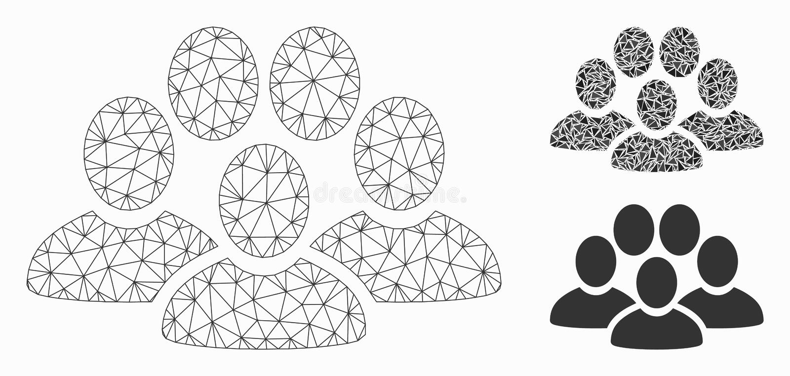 People Crowd Vector Mesh 2D Model and Triangle Mosaic Icon. Mesh people crowd model with triangle mosaic icon. Wire carcass polygonal mesh of people crowd vector illustration