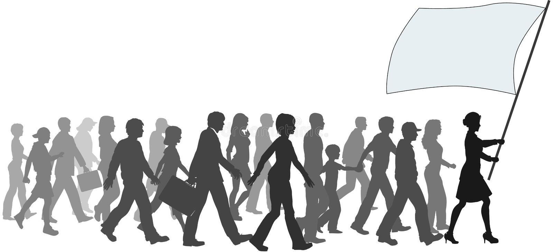 People crowd walk follow leader holding flag stock illustration
