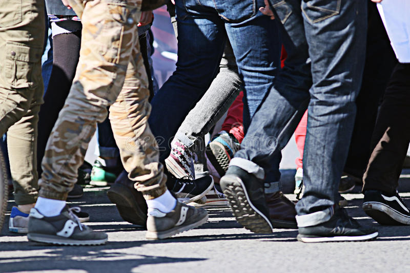 People crowd walking back foot blurred background royalty free stock photography